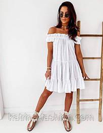 Женское платье свободного кроя креп-лён со спущенными плечами (в расцветках)