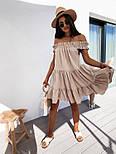 Женское платье свободного кроя креп-лён со спущенными плечами (в расцветках), фото 9