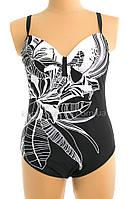 Купальник слитный черный с белыми цветами Сдельный черно-белый купальник большой размер 700-22