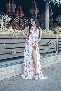 Длинное летнее платье с рюшами и разрезом на ноге 63ty3312