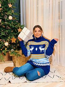 Женский вязаный удлиненный свитер с новогодним узором r3dm791