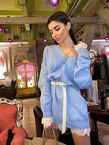 Вязаное платье туника с кружевной отделкой и V-вырезом r71ty973
