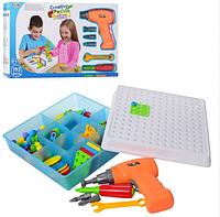 Винтовая мозаика с шуруповертом детский конструктор 193 элемент Creative Puzzle, мозаика с шуруповертом