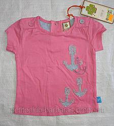 Детская летняя футболка для девочки розовая с якорями (QuadriFoglio. Польша)