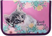 """Пенал Class 1-яр.,пустий з 2 відв.,""""Lovely Kitties"""", 210/70D PL, 20201С"""