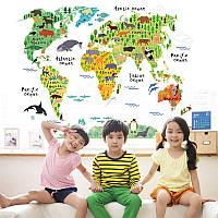 """Интерьерная виниловая наклейка на стену """"Карта мира с животными ZYPA037"""""""