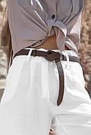 Тонкий кожаный коричневый ремень 1614