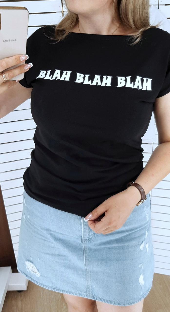 Женская футболка, турецкий коттон, р-р 42-44; 46-48 (чёрный)