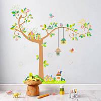 """Детская интерьерная виниловая наклейка на стену в детскую комнату """"Дерево с домиками"""""""