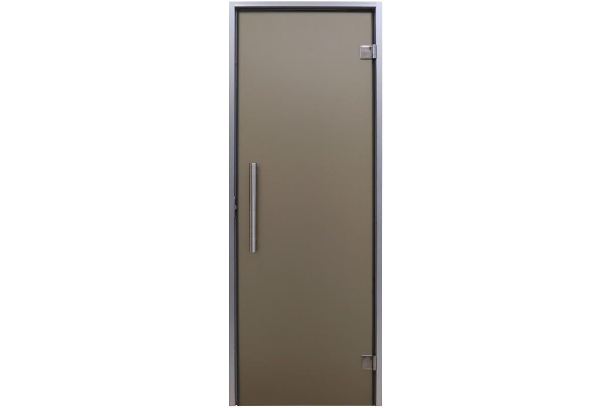 Универсальная стеклянная дверь Tesli Анталия Sateen 1900х700 мм бронзовая матовая для хаммама