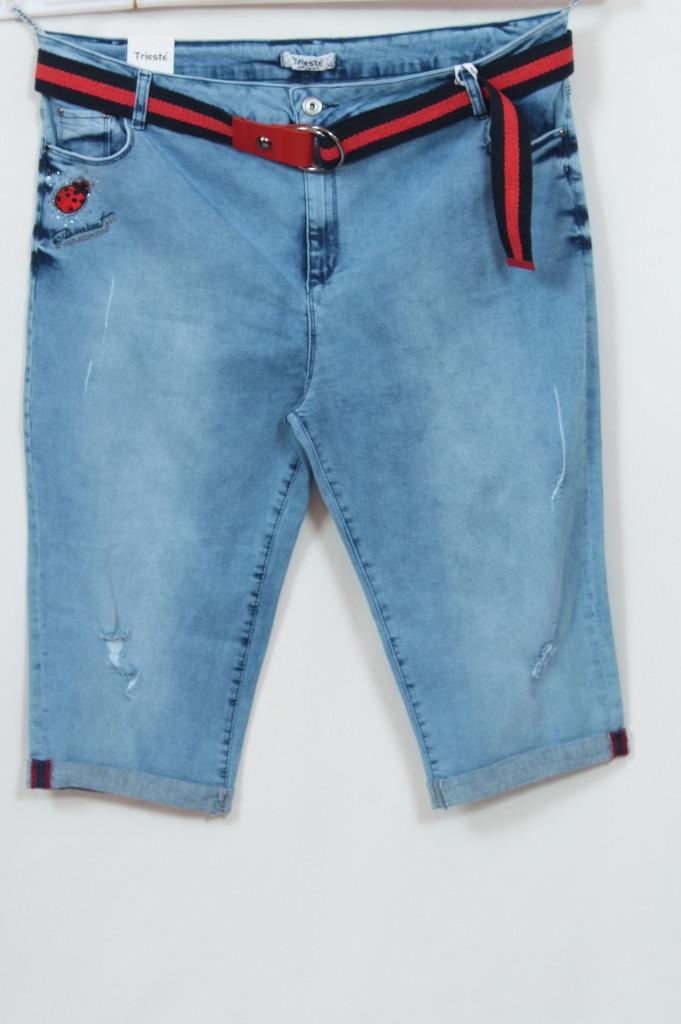 Турецкие женские джинсовые шорты с контрастным поясом, большие размеры 48-62