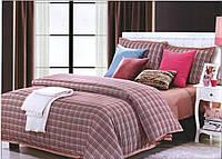 Комплект постельного белья 200х220 ARYA сатин Bordeaux Troyes бордовая клетка