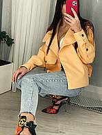 Женская куртка на запах из экокожи легкая с манжетами (р. 44-48) 31mku280R