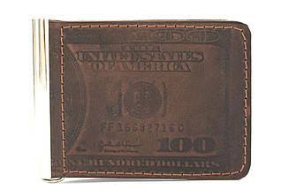"""Кожаный мужской зажим """"Dolar"""" YR 2002"""
