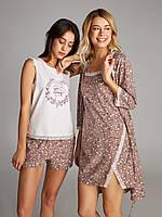 Пижама для женщин, комплект для дома, шорты и футболка, LNP 291/001 SAKURA, 95% хлопок, ELLEN