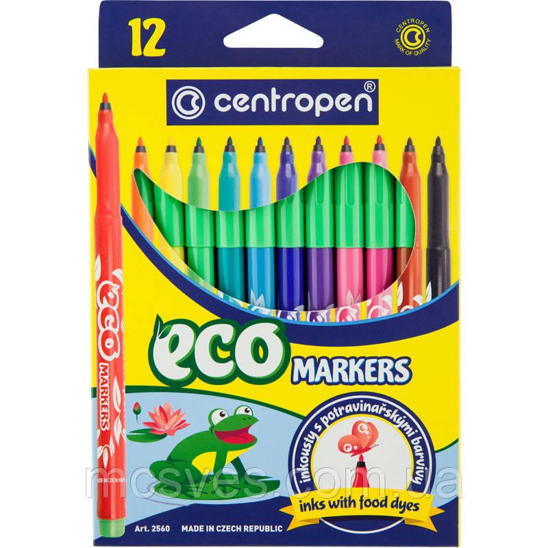 Набір фломастерів 2560 Еко, 12 кольорів, які не висихають без ковпачка до 10 днів, чорнило на основі харчових