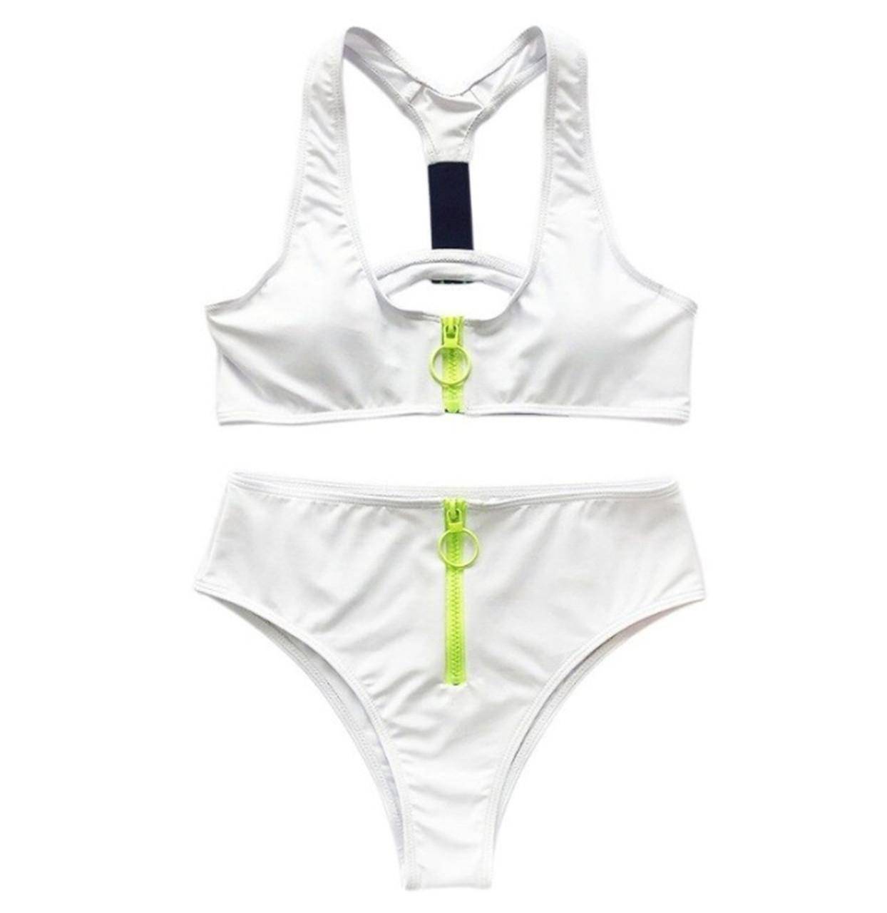 Спортивный раздельный купальник белый, L