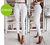 Стильные женские брюки завышенной посадкой из джинс - бенгалина(42-50), фото 1