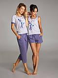 Пижама для женщин, комплект для дома, штаны и футболка, LNP 237/002 VIOLA, 95% хлопок, ELLEN, фото 2