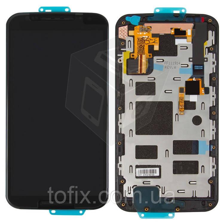 Дисплей для Motorola Moto X 2nd Gen XT1092, XT1093, XT1094, XT1097, модуль (экран и сенсор), с рамкой, черный