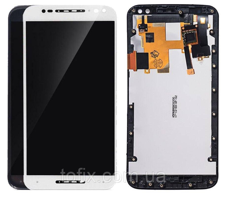 Дисплей для Motorola Moto X Style XT1570, XT1572, XT1575, модуль в сборе (экран и сенсор) с рамкой, оригинал