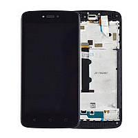 Дисплей для Motorola Moto C XT1750, модуль в сборе (экран и сенсор), с рамкой, черный, оригинал