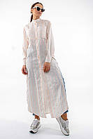 Повседневная длинная женская рубашка макси с воротником стойка (Шерити ri) Беж