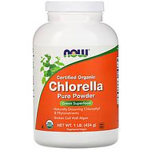 """Хлорелла NOW Foods """"Certified Organic Chlorella Pure Powder"""" натуральная, в порошке (454 г)"""