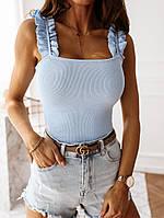 Женская майка из турецкого трикотажа рубчик с рюшами на плечах (42-46), фото 1