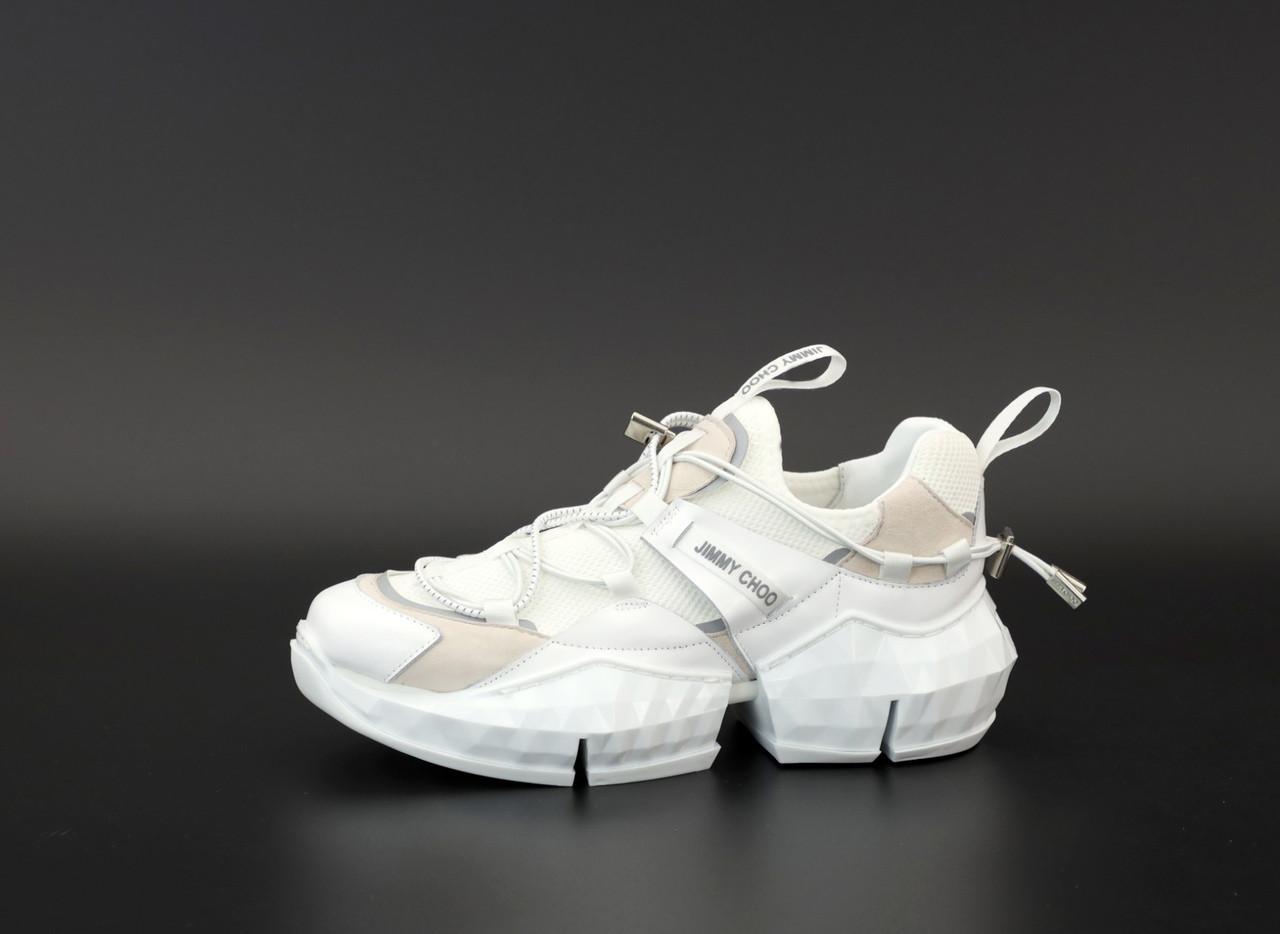 Женские кроссовки Jimmy Choo Diamond Trail White (белые) 12179