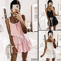 Женское летнее короткое белое черное розовое платье свободное на бретельках с рюшами софт молодежное 42-44