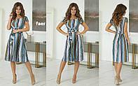 Женское милое летнее желтое мятное пудра платье темно синее цветы звездочки по колено с поясом 42 44 46 48