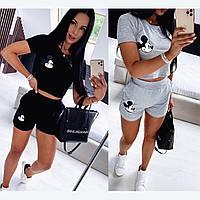 Женский летний спортивный костюм двойка футболка топ с шортами двухнить серый черный с наклейкой 42-44 44-46