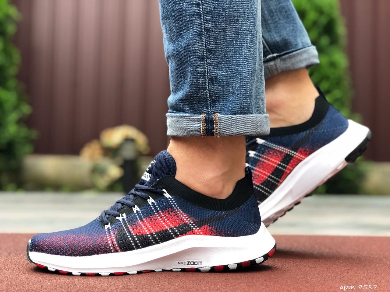 Чоловічі кросівки Nike Zoom (темно-сині з червоним і білим) 9587