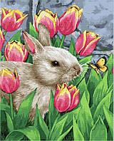 Картина по номерам Brushme 40х50 Заяц в тюльпанах (GX21493)