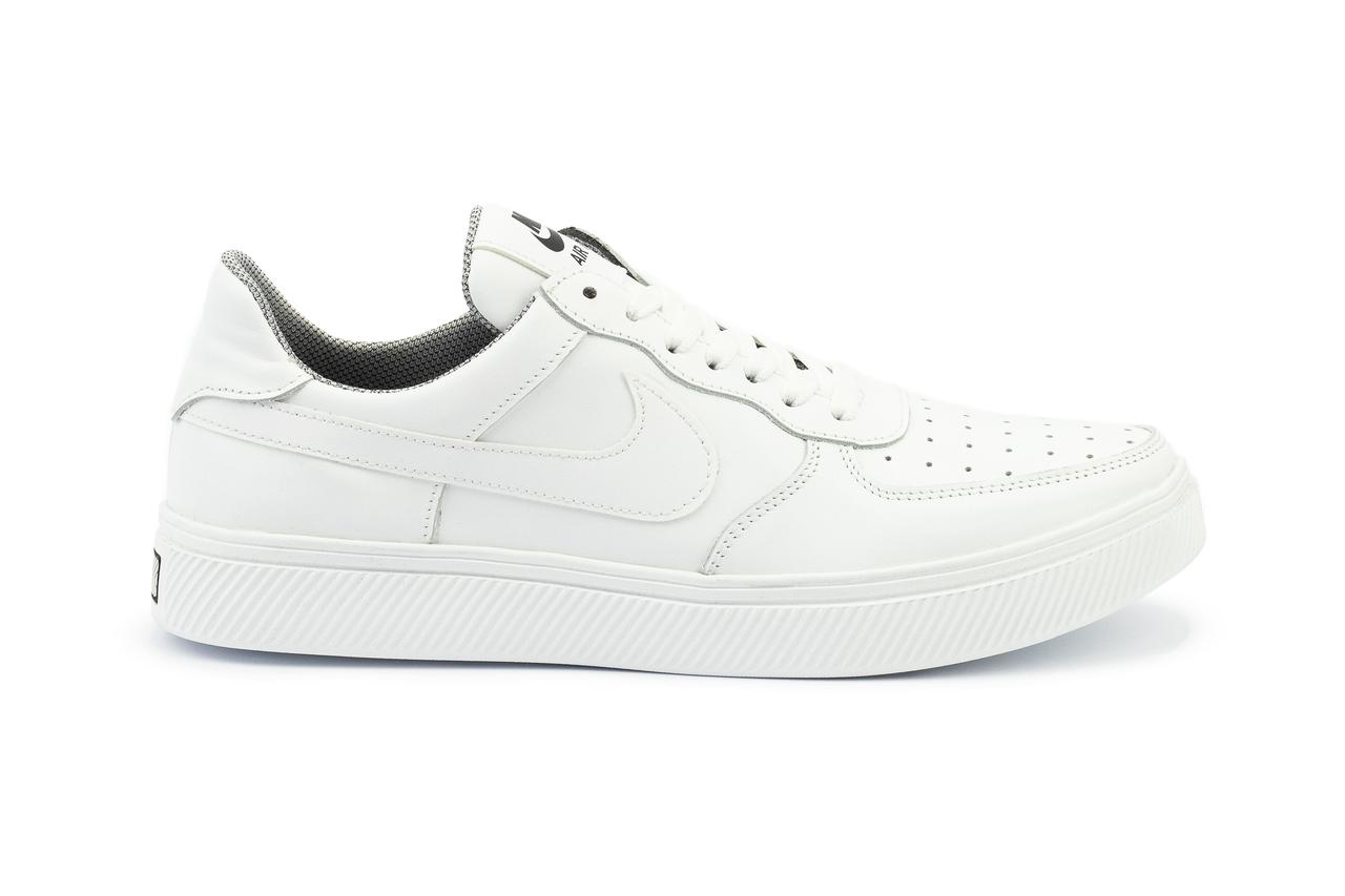 Мужские кеды кожаные белые Nike air force