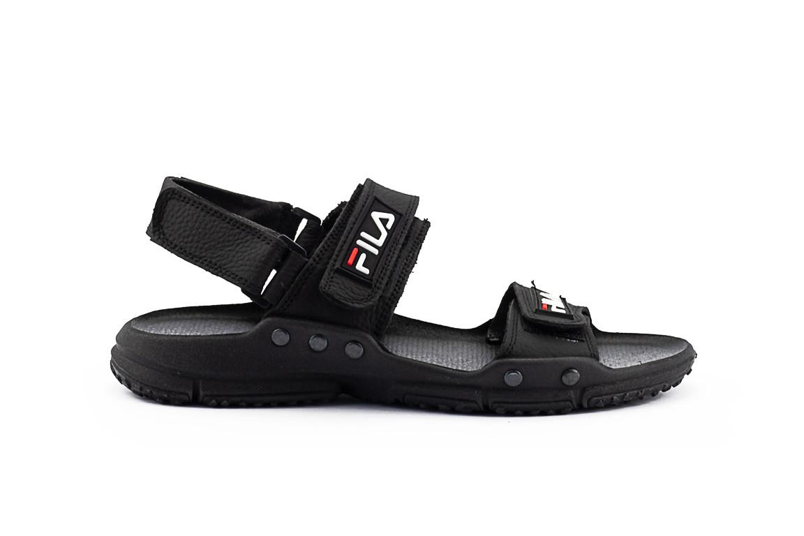 Чоловічі сандалі шкіряні літні чорні CrosSav Sport 215