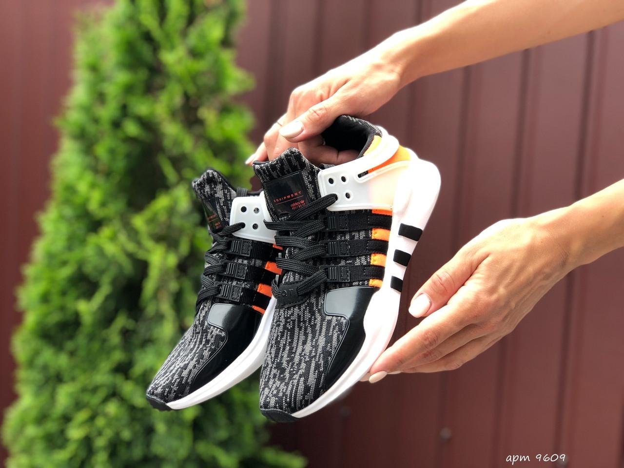Женские  кроссовки  Adidas Equipment черно синие, оранжевый