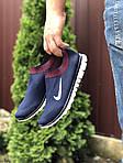 Мужские кроссовки Nike Free Run 3.0 (темно-синие с белым и красным) 9601, фото 2