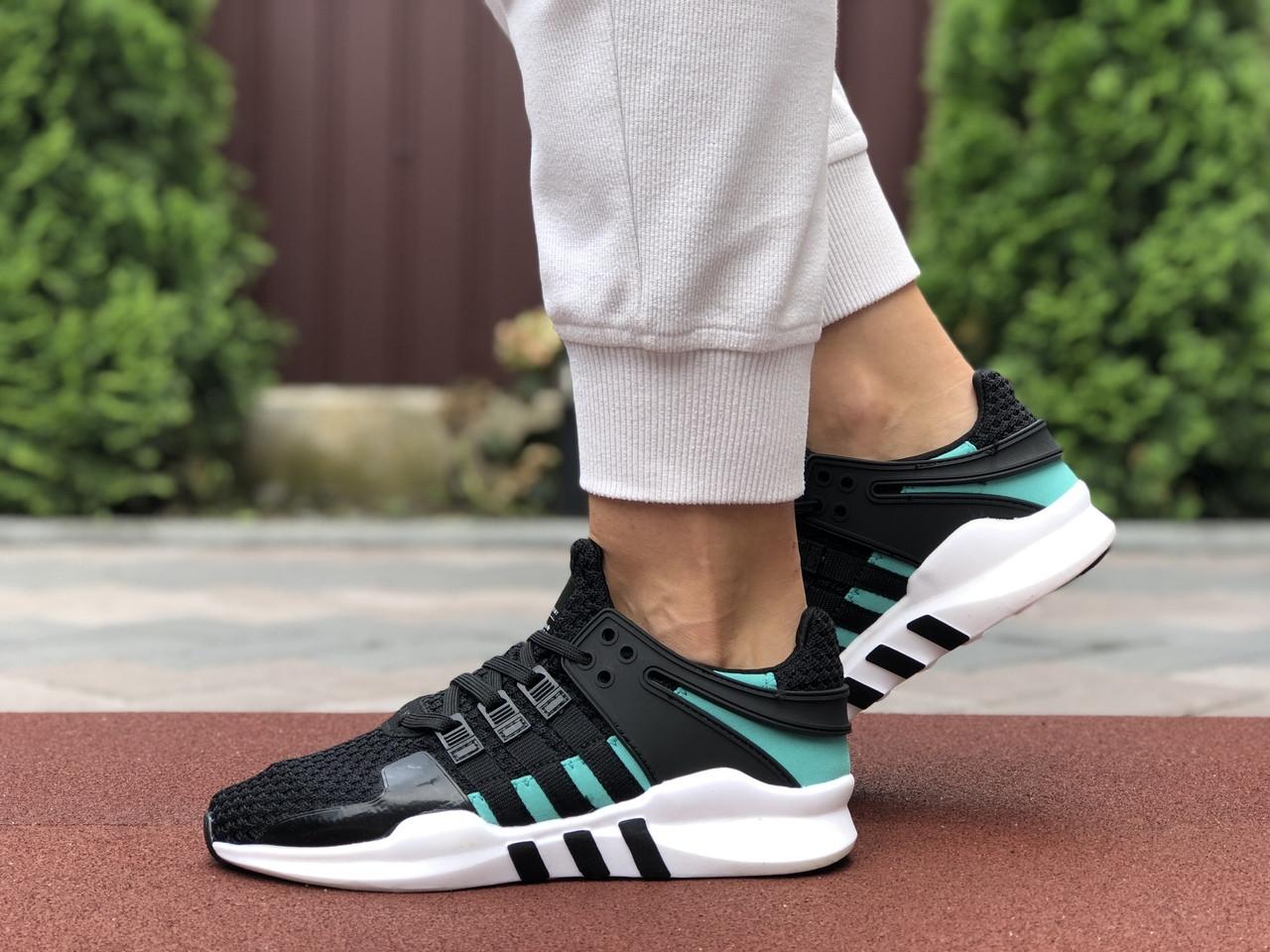 Женские кроссовки Adidas Equipment (черно-белые с зеленым) 9606