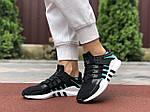 Женские кроссовки Adidas Equipment (черно-белые с зеленым) 9606, фото 4