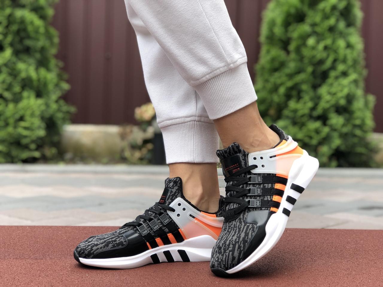 Жіночі кросівки Adidas Equipment (чорно-сірі з помаранчевим) 9609