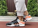 Жіночі кросівки Adidas Equipment (чорно-сірі з помаранчевим) 9609, фото 2