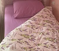 Комплект постельного белья двуспальное евро 200*220 простынь на резинке (14833) бязь Ранфорс