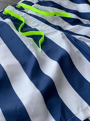 Чоловічі шорти білого кольору в синю смужку, фото 2