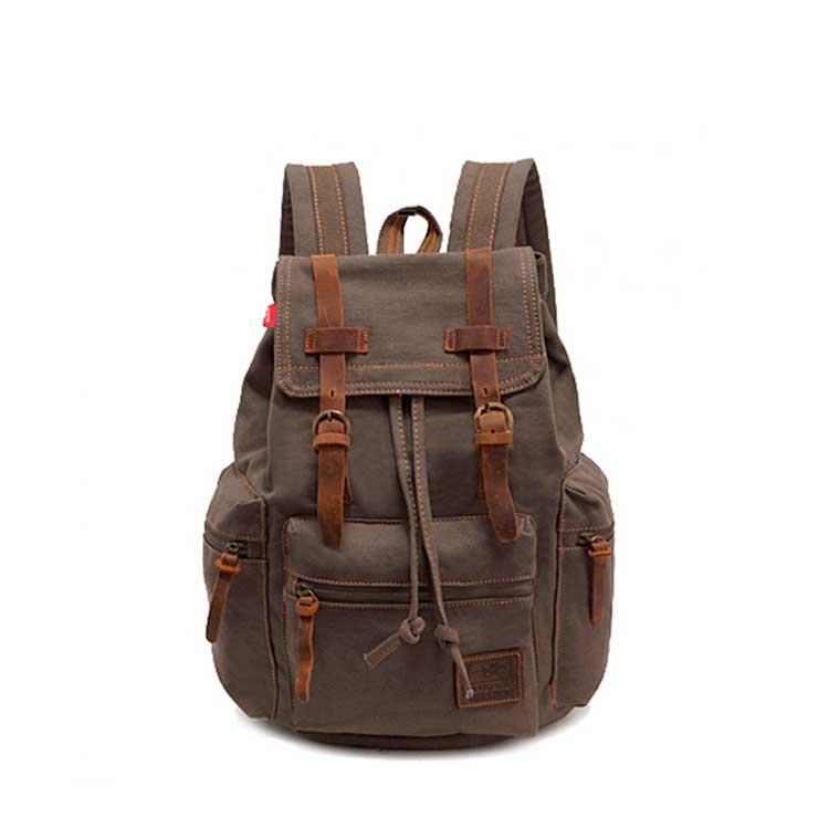 Рюкзак городской винтажный брезентовый Augur хаки
