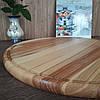 Доска для пиццы большая 50 см. круглая деревянная кухонная разделочная из ясеня, дуба РД-10, фото 2