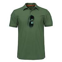 Тактическая футболка поло с коротким рукавом Зеленая (XL)