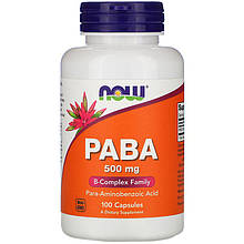 """Пара-аминобензойная кислота NOW Foods """"PABA"""" комплекс витамина B, 500 мг (100 капсул)"""