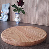 Доска для пиццы 30 см. круглая кухонная разделочная доска деревянная из ясеня, дуба РД-20, фото 3